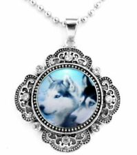 "HUSKY DOGS SNAP BUTTON CRYSTAL NECKLACE ON A 25"" CHAIN ~NEW!"