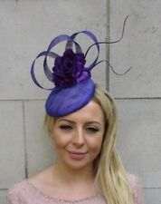 Purple Rose Flower Sinamay Feather Hat Fascinator Hair Clip Races Wedding 6108