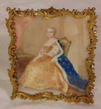 19th C French Miniature Portrait Gouache Painting Woman Queen Marie Antoinette