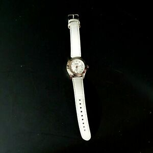 FOSSIL White Leather Silver Stainless Steel 12 Hour Time Date Wrist Watch AM4458