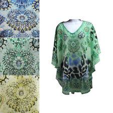 Women Beach Tunic Dress Leopard Print Sequin Kaftan Dress With Tropical Colours