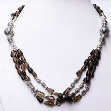 Natural Smoky Quartz 925 Sterling Silver Plated Jewelry beaded Necklace 50 Gm