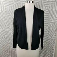 Eileen Fisher Womens Silk Knit Cardigan Size Medium Open Front Sweater Black