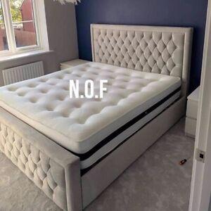GREY PLUSH VELVET ARIZONA BED WITH OTTOMAN OPTION NEW SALE BEDROOM FURNITURE
