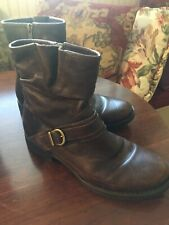 Born Brown Leather Side Zip Boots Size 8
