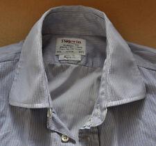 TM Lewin blueberry & white striped shirt size 16 1/2 double cuff Jermyn Street