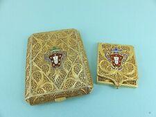 Set Antique Continental Silver Enamelled Portugal Cigarette & Card Case