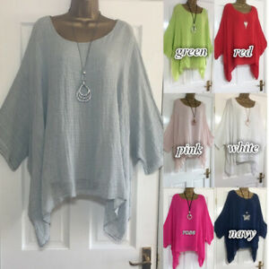 Plus Size Boho Women Long Sleeve Kaftan Baggy Blouse Loose Tee Shirt Tops Tunic