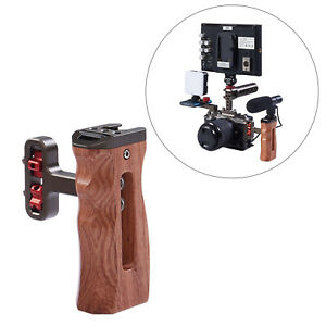 Ergonomic Side Wood Handle Grip Mount for DV Video Cage Rig w/Cold Shoe