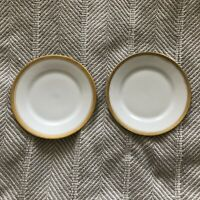 GOLD RIMMED SMALL PLATES VICTORIA CHINA CZECHOSLOVAKIA lot of 2 mid century EUC