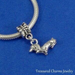 Silver DACHSHUND DOG Daschund Doxen Weiner Dog EUROPEAN Dangle Bead CHARM
