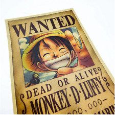 Anime One Piece Wanted Monkey D Luffy Art Poster Room Home Wall Decor Print