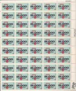 US Stamp - 1971 Blood Donor - 50 Stamp Sheet - Scott #1425