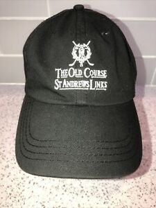 The Old Course St Andrews Links Collection Golf Black Cap Hat Adjustable