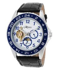 Croton Mens Reliance Automatic Multi-Function Watch Silver/Blue & Black Leather