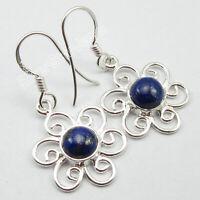 Sterling Silver Navy Blue Cab Lapis Lazuli Dangle Earrings Gift Handmade Jewelry