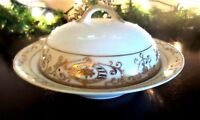 Vintage Noritake 175 Round Covered Butter Dish Gold Flowers Moriage Scrolls
