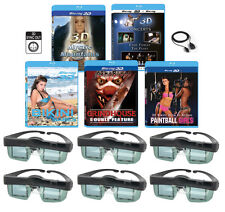 3 3D Blu-ray & 6 3D Glasses pack For MITSUBISHI 3-D Adapter TV 3DC-1000 3DA-1!!!