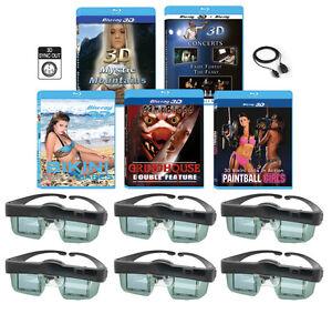 3 3D Blu-ray & 6 3D Glasses pack For MITSUBISHI 3-D Adapter TV 3DC-1000 3DA-1!!!