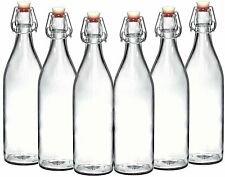 Set of 6-33.75 Oz Giara Glass Bottle with Stopper Caps, Carafe Swing Top Bottles