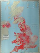 VINTAGE LARGE MAP of BRITAIN PERMANENT GRASS 1955 ACREAGE