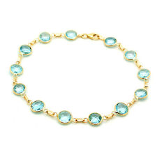 14K Yellow Gold Fancy Cut Blue Topaz Gemstone Bracelet 7 Inches