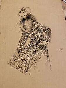 1960s Fashion Illustration Original Artwork Drawing Fur Coat Shirley Curzon Art