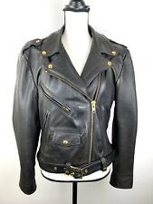 Vintage Motorcycle Jacket Women's 12 Kerrs Leather Jacket Black Quilted Lining