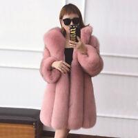 Women Real Genuine Full Pelt Vulpes Fox Fur Coat Jacket Long Overcoat Pink Parka