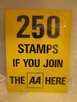 AA Join here aluminium sign. 250 stamps. vintage sign.enamel sign. RAC. AA.