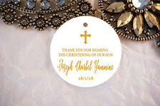 10 White Gift Tags Thank you Favour Bomboniere Personalised Baptism Christening