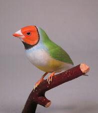 Gouldian Finches White-breast Orignal Carvings/Birdhug