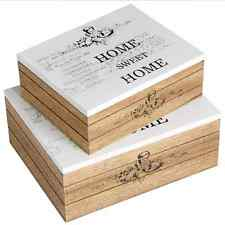 Shabby Chic Set Of 2 Wooden Home Sweet Home Boxes BRAND NEW