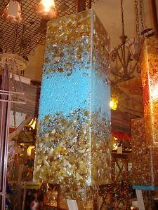 Blown Glass Chandelier - Glass Lighting - Lamp - Chandelier - Turquoise Amber