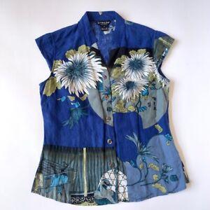 Citron Santa Monica Women S Silk Linen Short Sleeve Blue Blouse Floral Shirt Top