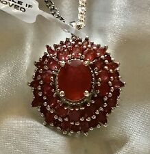 """9 Ct, Ruby Pendant, Cluster With 18"""" Chain In Platinum Over Sterling Silver"""
