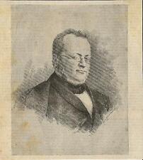 Stampa antica CAMILLO BENSO conte di CAVOUR ritratto 1886 Old antique print