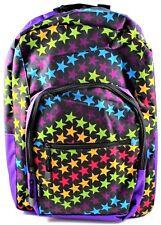 AKA Sport Backpack Book Bag Star Print Purple Black Shoulder Straps Pockets