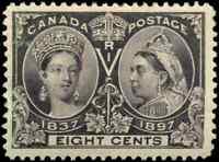 Canada #56 mint VF OG H/DG 1897 Queen Victoria 8c dark violet Diamond Jubilee