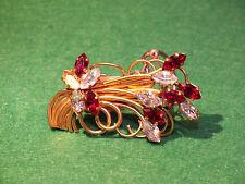 Superbe Broche Pince  à Foulard Bouquet de Fleurs - Cristaux et Métal Doré
