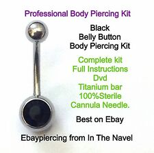 Body piercing kit. belly button, BLACK CRYSTAL. Professional sterile kit.