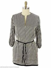 Pauline Trigere VTG Tunic Silk Black White Stripes OpArt Geometric1970s 40-33-43