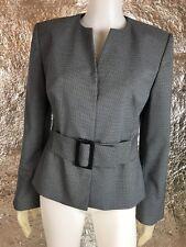 Women's Liz Claiborne Gray & Black Argyle Career Blazer, Size 8, Pre-Owned