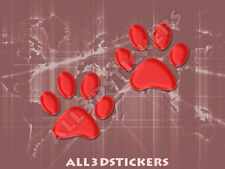 3D Sticker Decal Resin Domed Paws Adhesive Decal  Red