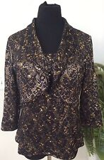 R&M Richards Black Gold Sequin Polyester Blend 2 Piece Jacket Top Size 12 EUC!