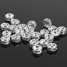 Silver Rhinestone Shamballa Diamante Beads Charms Rondelle Spacer Necklace