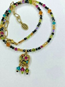24K Gold w/ Black and Rainbow Floral Necklace Beaded with Crystals Michal Golan