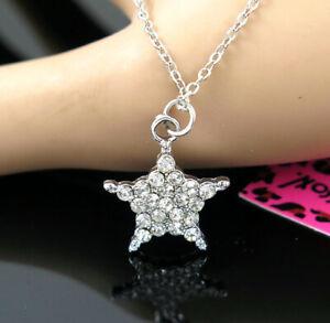 New Pendant Fashion Betsey Johnson Rhinestone star Silver Necklace Women Gift