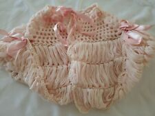 Antique Victorian Baby Doll Cape Shawl Sweater Ribbons Pink adorable handmade