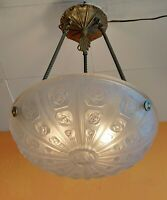 Signed 1920 1930 French Art Deco Frosted Pendant Chandelier S E.V.B. FRANCE 258